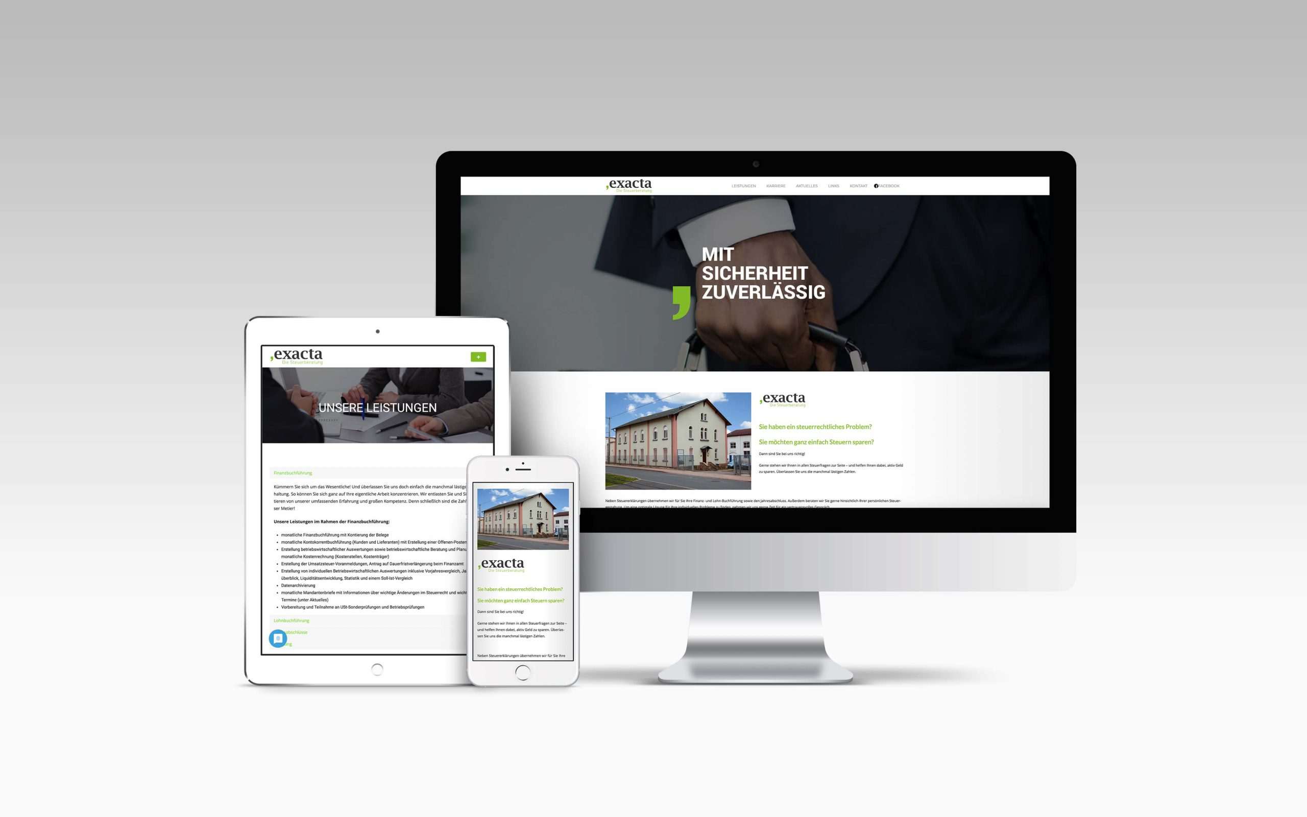 Mockup, exacta - Die Steuerberatung, Webdesign für Steuerberater