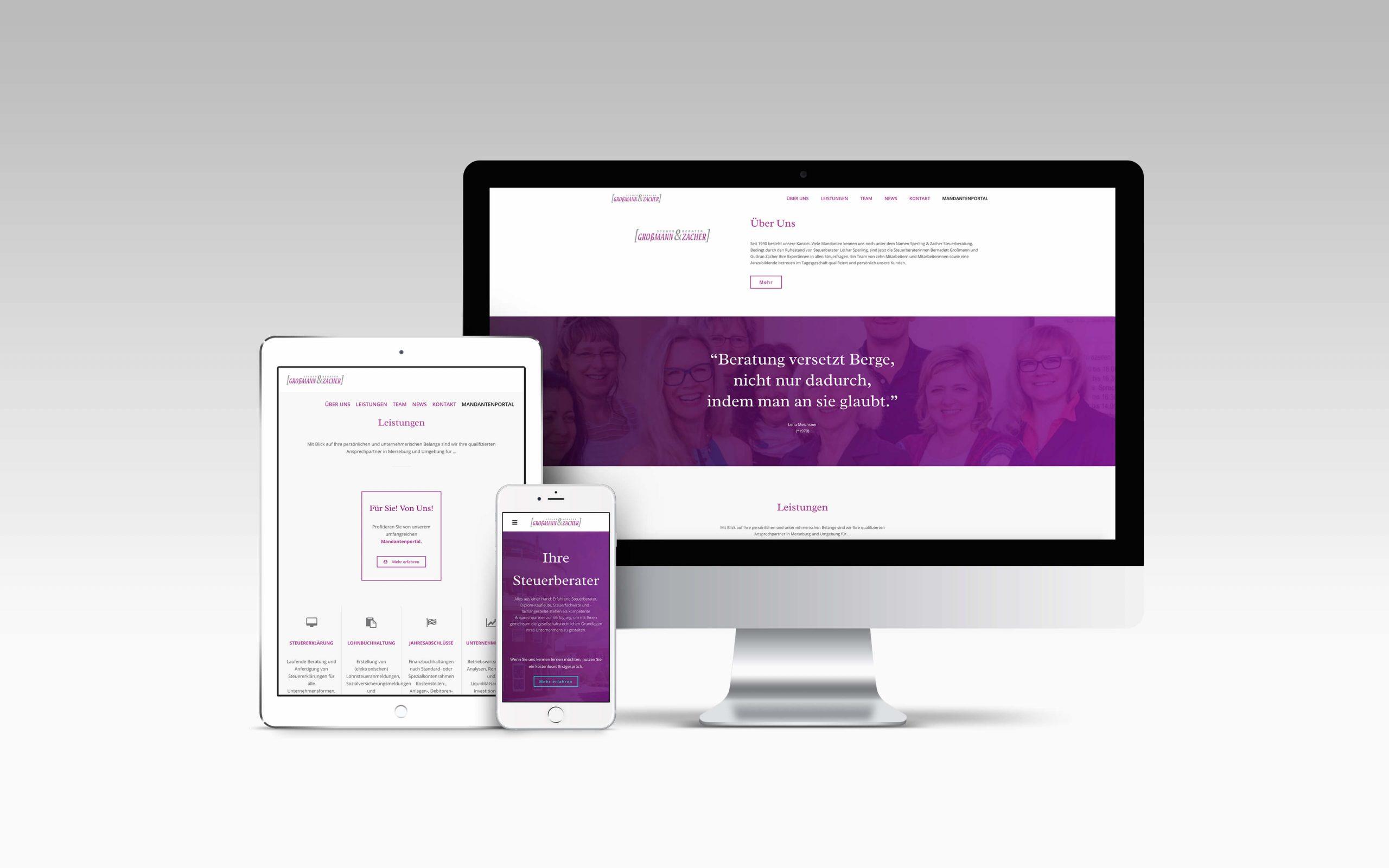 Mockup, Großmann und Zecher - Steuerberater, Webdesign für Steuerberater