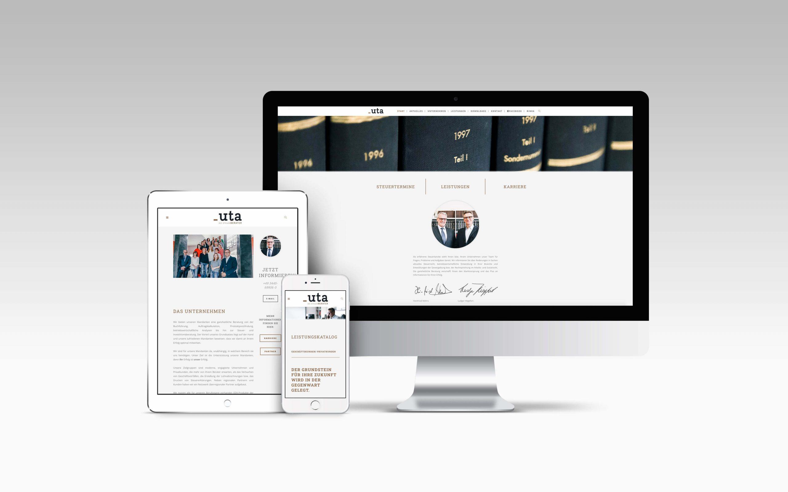 Mockup, UTA - Die Steuerberater, Webdesign für Steuerberater